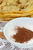 Sugar with cocoa for pancakes Stock Photography