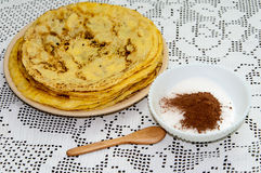Sugar with cocoa for pancakes Royalty Free Stock Photo