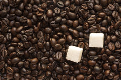 Sugar and coffee beans Stock Images