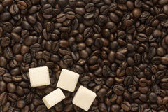 Sugar and coffee beans Royalty Free Stock Images