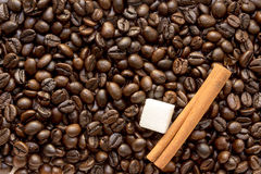 Sugar and coffee beans Royalty Free Stock Photo