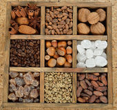 Sugar, coffee, and nuts Stock Photo
