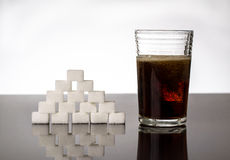 Sugar and coke unhealthy drink Stock Images