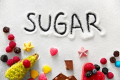 Sugar And Colorful Sweets On tabell fotografering för bildbyråer