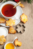 Sugar cookies with black tea Royalty Free Stock Photos
