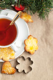 Sugar cookies with black tea Stock Photo