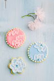 Sugar cookies. With brush embroidery royalty free stock photography