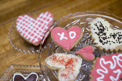 Sugar Cookies do Valentim com XO imagem de stock royalty free
