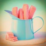 Sugar Cookies i Tin Pitcher Fotografering för Bildbyråer