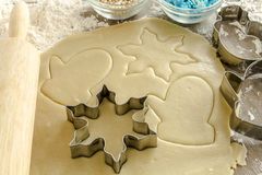 Sugar Cookies Ingredients and Cutters Royalty Free Stock Images