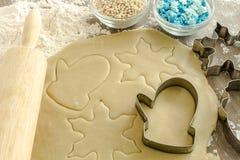 Sugar Cookies Ingredients e taglierine Fotografie Stock Libere da Diritti
