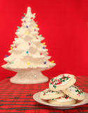 Sugar cookies on red Stock Photography
