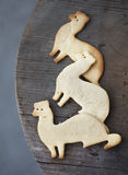 Sugar cookies shaped as ferrets on wooden table Stock Photos