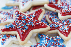 Sugar cookies for 4th of July. Star sugar cookies decorated for 4th of July Independence day celebration in America. Icing and sprinkles in red, white, and blue Stock Photo
