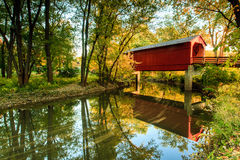 Sugar Creek Covered Bridge. This image of the Sugar Creek Covered Bridge was captured near Springfield, Illinois in the autumn stock image