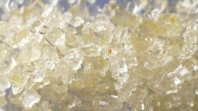 Sugar crystals. Macro shot of moving sugar crystals stock video