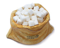 Sugar cube. Cube sugar isolated on clean white Stock Photos