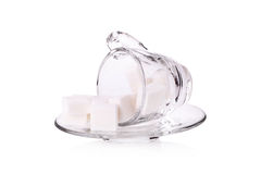 Sugar cube in coffee cup Royalty Free Stock Image