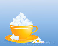 Sugar cube cup. An illustration of a bright yellow cup and saucer full of white sugar cubes with granules and daisy decoration on a blue background Royalty Free Stock Photos