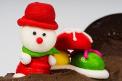 Sugar cube design in Santa. Santa in red hat food design Stock Image
