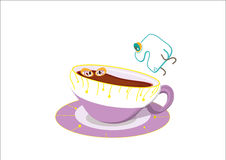Sugar cube jumping into a cup, the tea contained in the cup gets. Sugar cube, jumping into a cup, the tea contained in the cup gets scared, illla on white Royalty Free Stock Photography