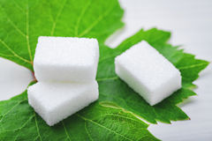 Sugar cube on leaf Stock Photo
