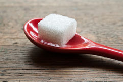 Sugar cube in a red spoon Royalty Free Stock Images