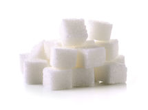 Sugar cube on white background Stock Photos
