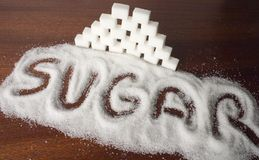 Sugar cubes. Text sugar and cubes on the table Stock Photo