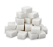 Sugar cubes. Close up of sugar cubes on white background with clipping path royalty free stock image