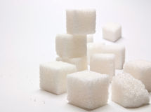 Sugar cubes. Several pieces of refined sugar Stock Photography