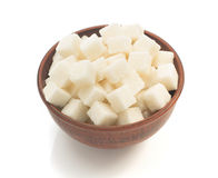 Sugar cubes in bowl isolated on white Stock Image