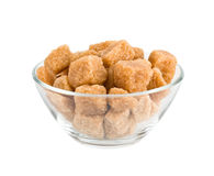 Sugar cubes in a bowl on a white background Stock Photo