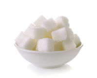 Sugar cubes in a bowl  on white background Royalty Free Stock Photo