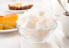 Sugar cubes on  breakfast table Stock Photo