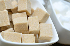 Sugar cubes in ceramic bowl Royalty Free Stock Photos