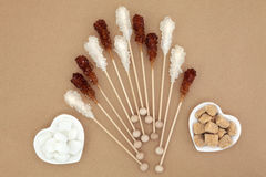 Sugar Cubes and Crystal Lollipops Stock Photos