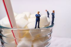 Sugar Cubes Drink Businessmen imagens de stock royalty free