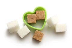 Sugar cubes in heart form Royalty Free Stock Photos