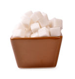 Sugar cubes - path. Pile of sugar cubes on bowl with clipping path Stock Photography