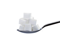 Sugar cubes on spoon. White sugar cubes on a spoon isolated on white Stock Photo