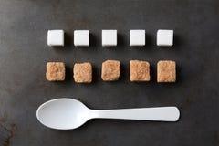 Sugar Cubes Spoon Baking Sheet Imagen de archivo