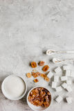 Sugar cubes on stone table background top view mockup Stock Photo