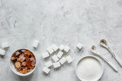 Sugar cubes on stone table background top view mockup Royalty Free Stock Image