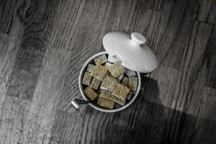Sugar cubes. A top view shot of sugar cubes Royalty Free Stock Photography