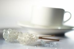 Sugar and cup. Sugar and coffee cup on table top Stock Image