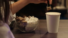 Sugar and a cup of fresh coffee stock video