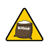 Sugar danger warning sign. Sugar warning sign; Caution symbol; Sugar sack Royalty Free Stock Image