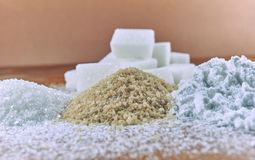 Different kinds of sugar on the table Stock Photos