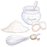 Sugar and eggs Stock Image